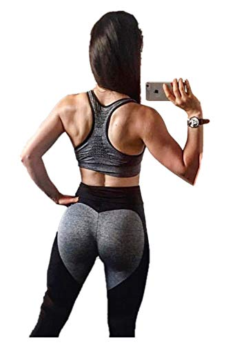 Fliegend Damen High Waist Leggings Yoga Hose Mesh Jogginghose Sporthose Push Up Fitnesshose Laufenhose Herz Patchwork Leggins Workout Gym Skinny Hosen L von Fliegend