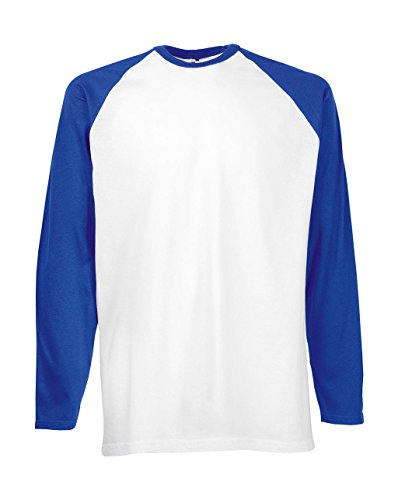 Fruit of the Loom Baseball Langarm ( Longsleeve ) T-Shirt S M L XL XXL weiss/royal,XL von Fruit of the Loom