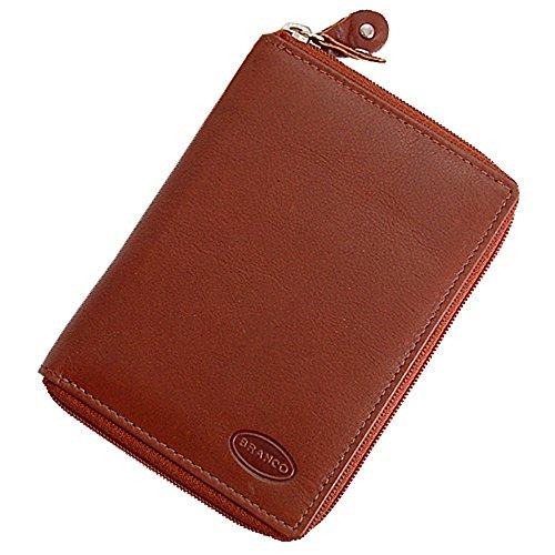 1a3e69ee3b989 Branco funktionale Leder Damen Reißverschluss Geldbörse Geldbeutel  Portemonnaie GoBago (Braun)
