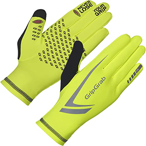 GripGrab Running Expert Winter Thermal Full-Finger Touchscreen Gloves - Highly-Visible, Sweat-Wiper, Black, Neon HiViz von GripGrab