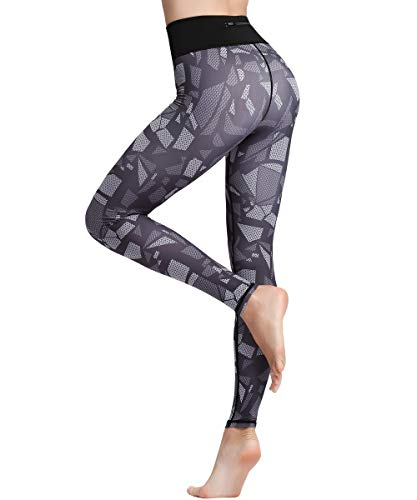 HAPYWER Damen Leggings Lang Sport Yoga Hose Hohe Taille Training Tights Gym Pants Laufhose(Cube,L) von HAPYWER