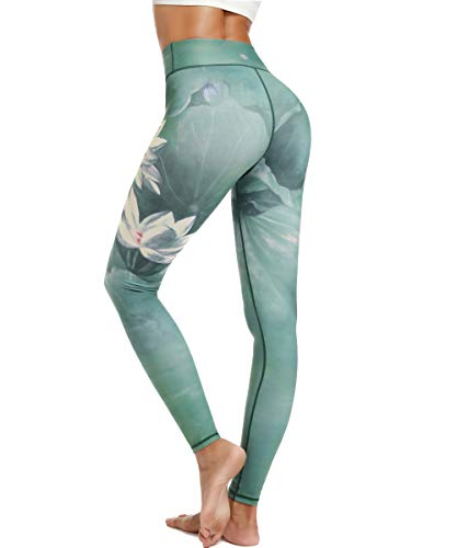 HAPYWER Damen Sport Leggings Lang Gym Trainings Jogging Hohe Taille Sporthose Stretch Yoga Hose(Lotos Grün,L) von HAPYWER