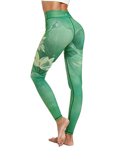 HAPYWER Damen Sport Leggings Lang Gym Trainings Jogging Hohe Taille Sporthose Stretch Yoga Hose(Lotos Grün,M) von HAPYWER