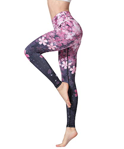 HAPYWER Yoga Leggings Damen Hohe Taille Sporthose Muster Trainingshose Fitnesshose Tummy Control für Laufen Yoga Workout (Kirschblüte, S) von HAPYWER