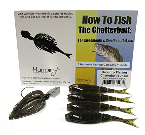Harmony Fishing Company Chatterbait Kit – Z-Man Chatterbait + Z-Man Razor ShadZ + How to Fish The Chatterbait Guide, Green Pumpkin von Harmony Fishing Company