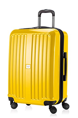 HAUPTSTADTKOFFER - X-Berg - Hand Luggage On-Board Suitcase Cabin Bag Hardside Spinner Trolley 4 Wheel, TSA, 65 cm, 90 liter, Yellow glossy von Hauptstadtkoffer