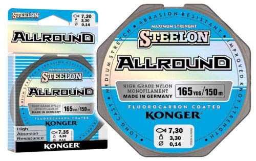 Konger Angelschnur Allround Fluorocarbon Coated Spule 150m Monofile (0,25mm / 8,50kg) von Konger