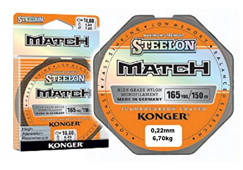 Konger Angelschnur STEELON Match Fluorocarbon Coated Monofile 150m (0,22mm / 6,70kg) von Konger