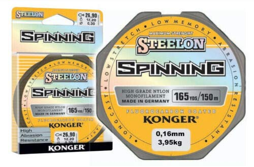 Konger Angelschnur STEELON Spinning Fluorocarbon Coated 0,12-0,30mm/150m Monofile (0,16mm / 3,95kg) von Konger