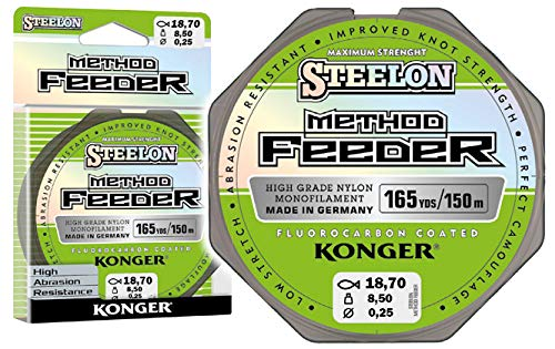 Konger Angelschnur Steelon Method Feeder Fluorocarbon Coated Monofile Spule 150m 0,18-0,30mm Feederschnur Feeder Methode TOP! (0,25mm / 8,50kg) von Konger