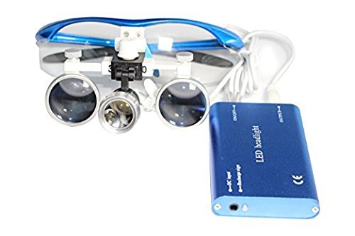 Levin-dental 3.5x 420mm Dental Lupenbrille Surgical Binokularlupen und Led Stirnlampe Blau von LEVIN