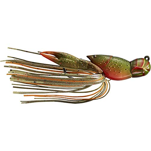 LiveTarget Hollow Body Craw Jig, 4,4 cm Länge, 1,6 g, Variable Tiefe, Oliv/Orange, 1 Stück von LIVE TARGET