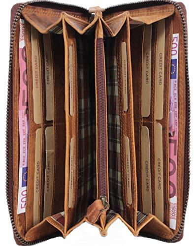 a817f594581a08 Große Damen Leder Geldbörse,Herren Portemonnaie RFID Schutz, langes Vintage  Portmonee in Geschenkbox braun Corno d´ORO 2080