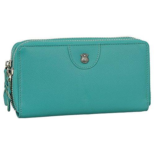 aab4655faae5d Luxus Leder Damen Geldbörse Portemonnaie mit Eulen Relief aus Metall  Geldbeutel mit Reißverschluss 20 cm 58594 Farbe Grün. von Ledershop24