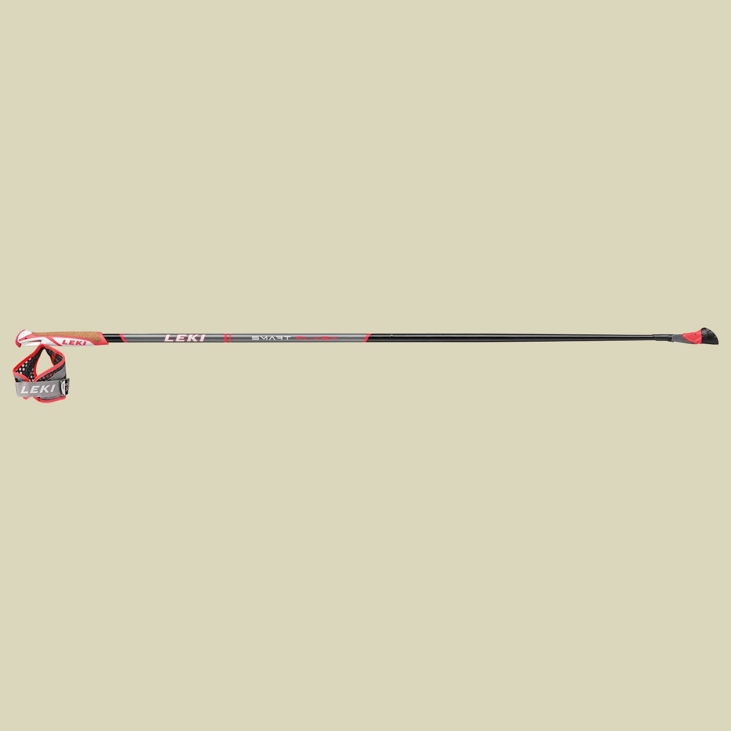 Leki Smart Flash Nordic Walking Stock Länge 115 cm black-anthracite-white-red von Leki