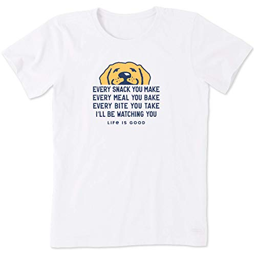 Life Is Good Damen Standard Crusher Graphic T-Shirt I'll Be Watching You, Cloud White, Small von Life Is Good
