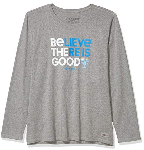 Life Is Good Damen Urlaub Langarm Crusher T-Shirt Be The Good Hannukah W Holiday Long Sleeve Crusher T-Shirt Be The Good Hannukah W, Damen Unisex, 63241, Grau meliert, M von Life Is Good