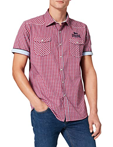 Lonsdale London Herren BERNY Slim Fit Shirt, Shortsleeve, Red/Blue/White, L von Lonsdale London