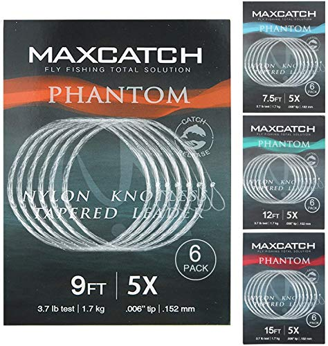 MAXIMUMCATCH Fliegenvorfach mit Schlaufe transparent Tapered Leader 5 Pack 7,5/9/12/15ft, 0X-7X (9ft, 7X (5 Stück)) von MAXIMUMCATCH