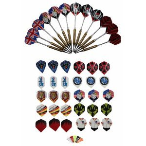 12 McDart Brass Darts +100 Spitzen + 30 Flights von McDart