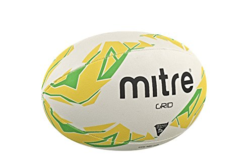 Mitre Grid Training Rugbyball, White/Yellow/Green, Size 3 von Mitre
