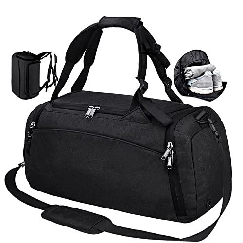 54bbd29f21f56 NEWHEY Sporttasche Männer Reisetasche mit Schuhfach Gym Fitness Tasche mit  Rucksack-Funktion 40 Liter Handgepäck Weekender Groß für Herren