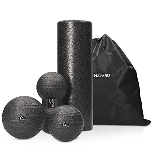 Navaris Faszien Set 4tlg. Massageroller - 1x Faszienrolle 1x Peanut Duo Massageball 2X Faszienball - Massage Bälle Duoball - Rücken Nacken Yoga von Navaris