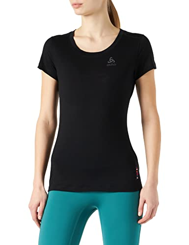 Odlo Damen BL TOP Crew Neck s/s Natural Light Unterhemd, Black, L von Odlo