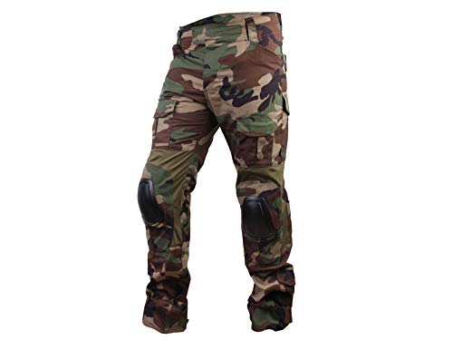 Paintball Equipment Herren Airsoft Jagd Combat BDU Hose Taktische Gen3 Hose mit Knie Pad Woodland, Woodland von Paintball Equipment
