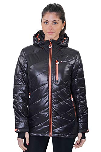 Peak Mountain Damen ACYBRID/TG Jacke, Schwarz/Korallenrot, XL von Peak Mountain