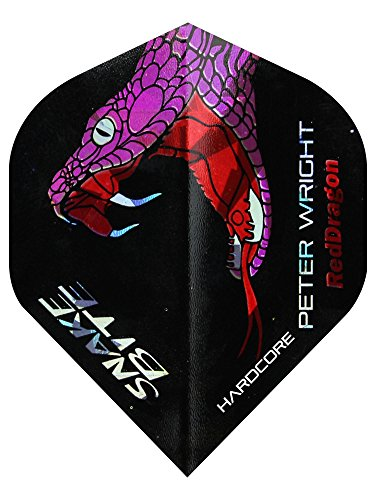 Hardcore Peter Wright Snakebite Holographische Dart Flights - 3 sets pro pack (9 flights insgesamt) & Red Dragon Checkout Card von Red Dragon