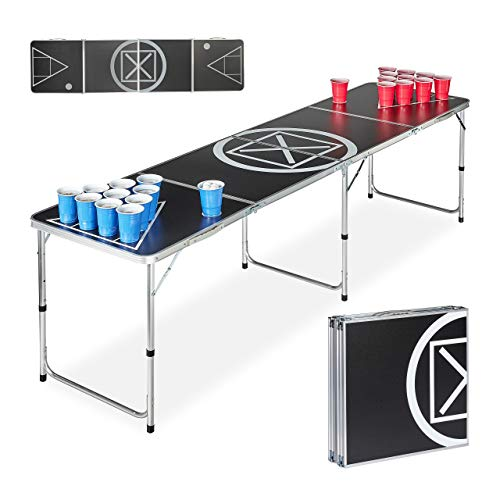 Relaxdays Beer Pong, Folding, Drinking Game, Audi Table Design, for Adults klappbar Trinkspiel Tisch Erwachsene, weiß/schwarz, HWD: 70 x 241.5 x 60 cm von Relaxdays