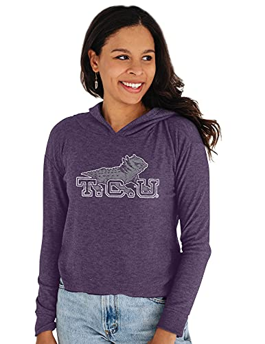 Reserve Collection by Blue 186 NCAA TCU Horned Frogs Damen Gemütliches Crop Top Vault Hoodie, TCU Horned Frogs Lila, Größe M von Reserve Collection by Blue 616