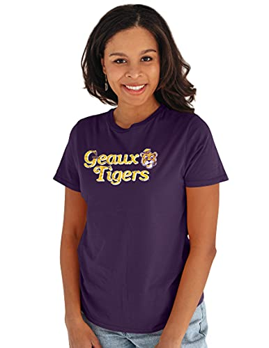 Reserve Collection by Blue 217 NCAA LSU Tigers Damen Vintage Boyfriend Vault Tee, LSU Tigers Violett, Größe L von Reserve Collection by Blue 616