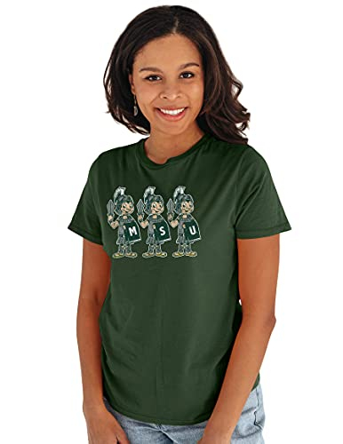 Reserve Collection by Blue 227 NCAA Michigan State Spartans Damen Vintage Boyfriend Vault Tee, Michigan State Spartans Forest, Größe L von Reserve Collection by Blue 616