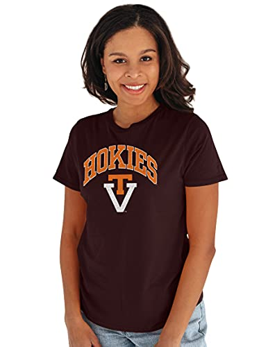 Reserve Collection by Blue 232 NCAA Virginia Tech Hokies Damen Vintage Boyfriend Vault Tee, Virginia Tech Hokies Kastanienbraun, Größe L von Reserve Collection by Blue 616