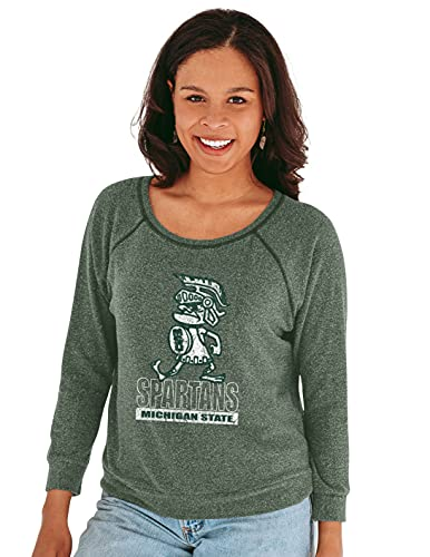 Reserve Collection by Blue 345 NCAA Michigan State Spartans Damen-T-Shirt mit 3/4 Raglanärmeln, Vault Hacci Stoff, Michigan State Spartans Forest, Größe S von Reserve Collection by Blue 616
