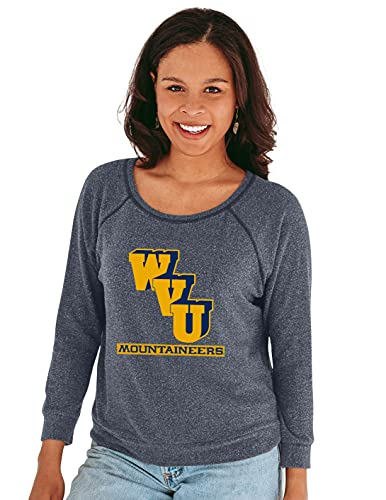 Reserve Collection by Blue 377 NCAA West Virginia Mountaineers Damen 3/4 Raglanärmel, Vault Hacci Stoff, West Virginia Mountaineers Marineblau, Größe L von Reserve Collection by Blue 616