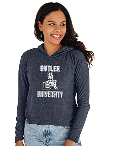 Reserve Collection by Blue 616 NCAA Butler Bulldogs Damen-Kapuzenpullover, bauchfrei, Größe M, Marineblau von Reserve Collection by Blue 616