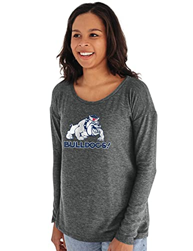 Reserve Collection by Blue 616 NCAA Fresno State Bulldogs Damen Sweatshirt mit Rundhalsausschnitt, Gr. S, Anthrazit von Reserve Collection by Blue 616