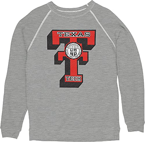 Reserve Collection by Blue 616 NCAA Texas Tech Red Raiders Herren Vintage Tri-Blend Crewneck Sweatshirt Vault, Texas Tech Red Raiders Heather Gray, Größe L von Reserve Collection by Blue 616