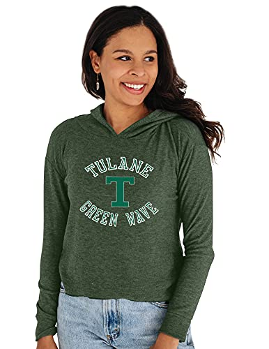 Reserve Collection by Blue 616 NCAA Tulane Green Wave Damen Cozy Crop Top Vault Hoodie, Tulane Green Wave Forest, Large von Reserve Collection by Blue 616