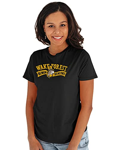 Reserve Collection by Blue 616 NCAA Wake Forest Demon Deacons Damen Vintage Boyfriend Vault Tee Wake Forest Dämonen Deacons Schwarz XL von Reserve Collection by Blue 616