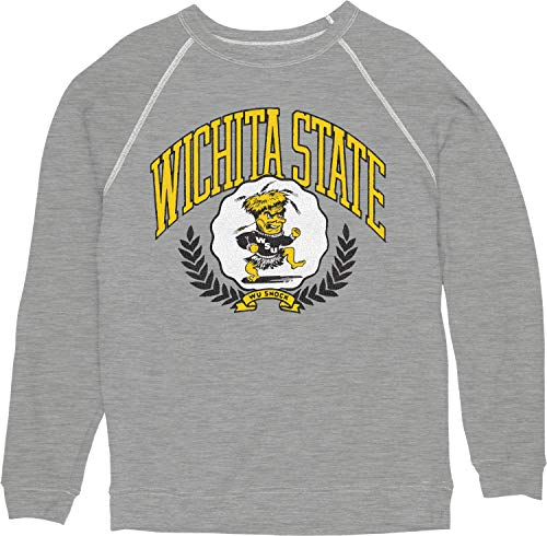 Reserve Collection by Blue 616 NCAA Wichita State Shockers Herren Vintage Tri-Blend Crewneck Sweatshirt Vault, Wichita State Shockers, Heather Grey, Größe L von Reserve Collection by Blue 616
