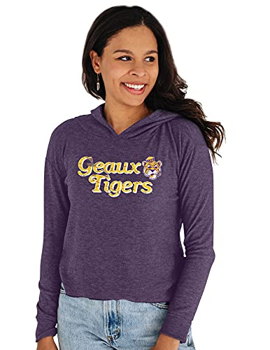 Reserve Collection by Blue 99 NCAA LSU Tigers Damen Bauchfreies Top Vault Hoodie, LSU Tigers Lila, XXL von Reserve Collection by Blue 616