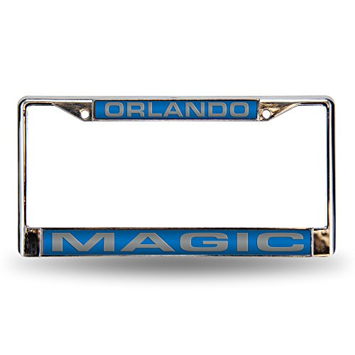 Rico Industries NBA Laser Cut Inlaid Standard Chrome License Plate Frame, Orlando Magic - Blue Insert von Rico Industries