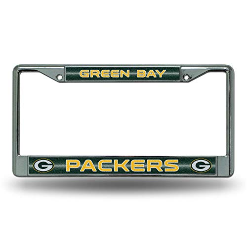 NFL Rico Industries Bling Chrome License Plate Frame with Glitter Accent, Green Bay Packers von Rico Industries