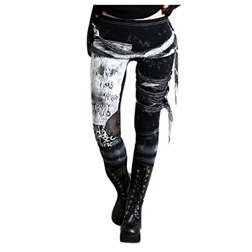 Routinfly Damen Hosen Casual Pant Gotischer Punk-Stil Distressed Tie-Dye-Strumpfhose Leggings Slim Fit Hosen S-3XL von Routinfly