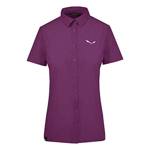 Salewa Damen Puez Minicheck2 Dry W S/S SRT Blusen & T-Shirts, Dark Purple, 52/46 von Salewa