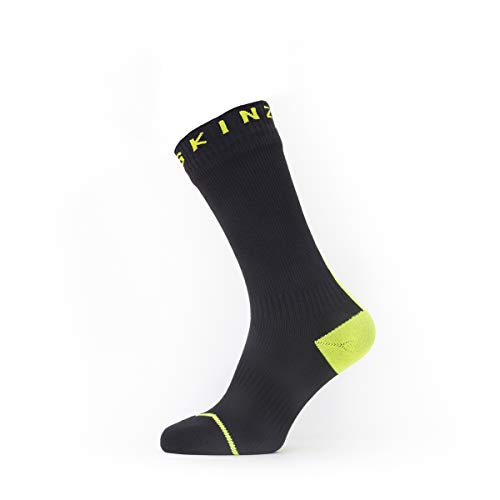 SealSkinz Waterproof All Weather Mid Length Sock with Hydrostop, Black/Neon Yellow, M von SealSkinz